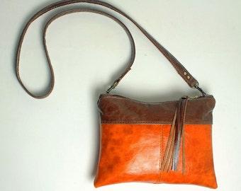 Mini Cross body Purse in Brick Orange Leather with Removable Strap Clutch Bag