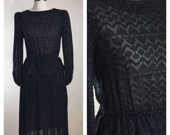 70s 80s Marinette Black Sheer Long Sleeve Peplum Accordion Midi Dress, Size Small