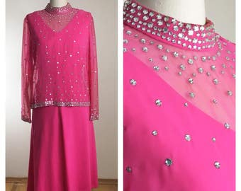 60s 70s Candy Pink Rhinestone Cocktail Dress, Size Large to XL