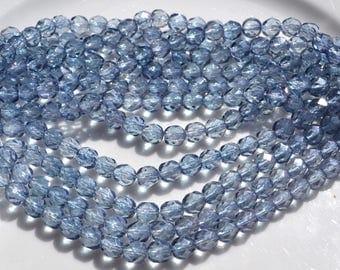 Light Montana Blue Luster 6mm Faceted Fire polish ROund Czech GLass Beads  25