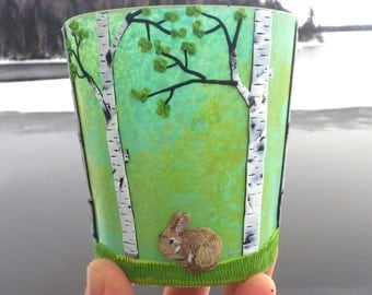 Tiny Bunny in a Spring Birch Woodland Sculpted with Polymer Clay onto Recycled Glass in Light Turquoise and Light Yellow