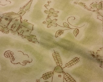 village with windmills print fabric