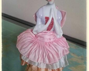 Victorian porcelain figure hand brush doll