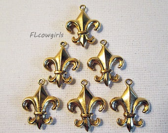 Fleur de Lis Charm, Gold Cast Metal Charm, 18x23mm, French Lily Charm, Double Sided, Gold Flower Charms, QTY 2 charms - bm212