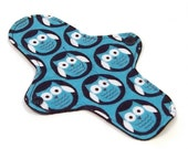"Reusable Cloth winged ULTRATHIN Pantyliner - 8 Inch in ""Midnight Owl"" - Cotton Flannel top"