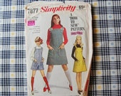 50% off Holiday Sale Easy Vintage Simplicity 7877 Jumper Dress and Playsuit Pattern 1968 Size 15 16