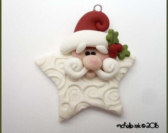 Star Shaped Santa Claus Polymer Clay Charm Pendant