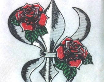 Beautiful Fleur De Lis and Tattoo Roses  - Embroidered Terrycloth Hand Towel - FREE U.S. Shipping