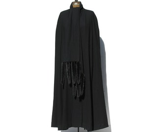 Vintage Black Wool Cape Coat
