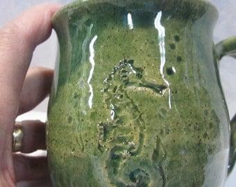 SEAHORSE Design Wheel Thrown Pottery Mug