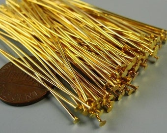 250 pcs    Long Gold  plated brass flat headpins, gold plated jewelry head pins, 65mm  21 gauge   HP7506
