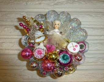 Vintage Christmas Ceramic Head Angel in Large Tart Tin Pink Gold