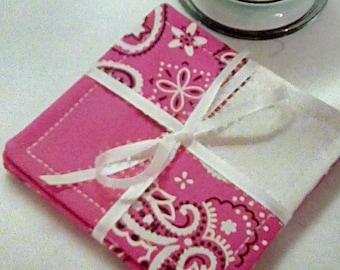 Mug Rug SET of 4, Bandana Pink, Fabric Coasters, Handmade, Hostess Gift, FREE Shipping in US
