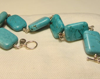 Chunky Turquoise Rectangle Bracelet