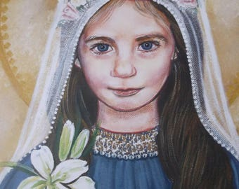 """Our Blessed Mother at age 3 being Presented in the Temper 16""""x20"""" Original Acrylic Painting, on Canvas, One of a Kind, Catholic Art, Signed"""