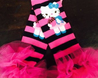 "Hello Kitty ruffle tutu leg warmers - Fits girls 6m to 6X approx 10"" long - Perfect for Birthday, Costume, Photo Prop"