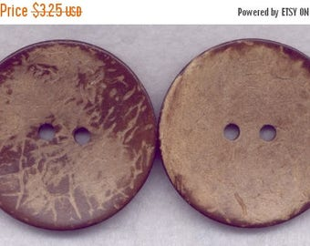 SALE Brown Coconut Wood Buttons Wooden Buttons 42mm (1 3/4 inch) Set of 4/BT528