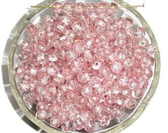 Vintage Pink Crackle Beads 6mm Pale Tone Glass Rounds 40 Pcs.
