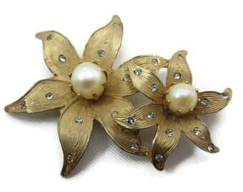 Kramer Jewelry Brooch - Gold Flowers, Rhinestones, Faux Pearls, Costume Jewelry