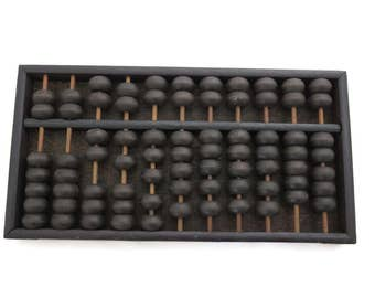 Vintage Wooden Abacus - Brass Hardware