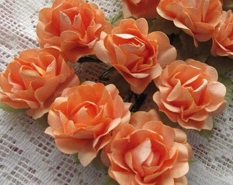 Paper Flowers 12 Open Millinery Roses In Medium Peach