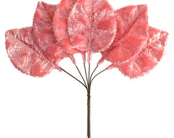 Czech Velvet Millinery Leaves 6 Pink Rose Leaves  NLC 100PK