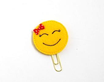 Smile Emoji Felt Planner Clip / Bookmark