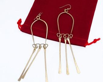 Modern Wire Earrings, Mid Century inspired, long fringe earrings, brass wire jewelry, original design, modernist jewelry