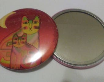 Pocket Mirror - Whimsical Kitty Cat