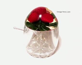 Clear Acrylic Jelly / Jam Jar with Spoon, Raspberry Lid