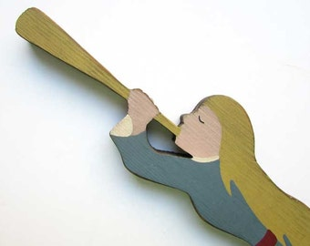 Vintage Painted Primitive Wooden Angel Blowing Trumpet Wall, Door Decor, 1980's Era Primitive Angel, Holiday Decoration