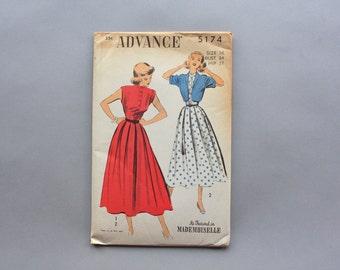 1940s Dress Pattern / Vintage 40s Dress and Bolero Pattern / 1950s Uncut Factory Fold Advance Pattern 5174 size 16 bust 34