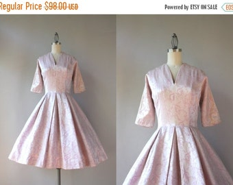 STOREWIDE SALE 1950s Party Dress / 50s Palest Pink Satin Dress / Classic 1950s Rococo Brocade Party Dress
