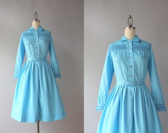 Vintage 60s Dress / Early 1960s Pleated Blue Day Dress / 60s Frederick's of Hollywood Cotton Dress XS S Small