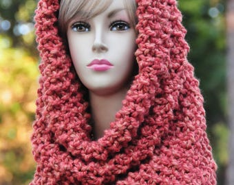 Chunky Knit Infinity Scarf Cowl Hood, Circle Scarf, Chunky Scarf, Oversized Cowl, Knit Scarf, Original Design, Wool Blend Scarf, Women Scarf