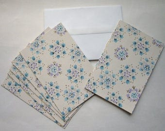 set of 6 handmade note cards stationary made from vintage wallpaper w snowflake flower pattern