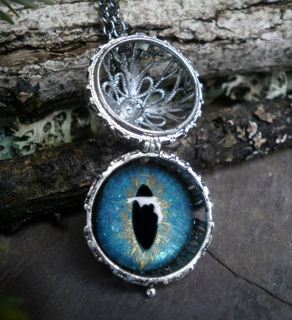 Gothic Steampunk Eye Ball Pendant with Turquoise Blue Eye