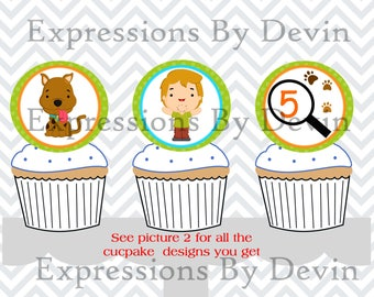 DIY DIGITAL PDF Printable Mystery Friends 2 inch Cupcake topper ( Customized age and 6 character designs)