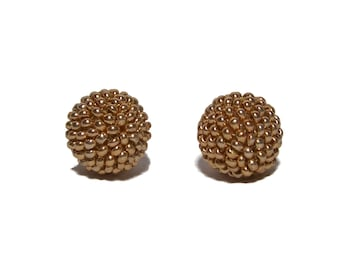 Gold color beaded beads handmade 14mm beads 2pcs