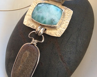 Sterling Silver and Larimar Necklace with Beach Stone