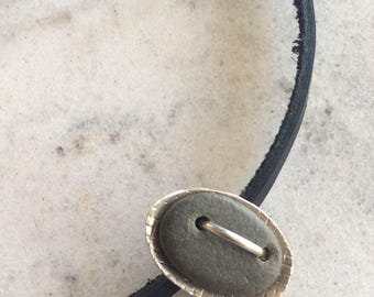 Sterling Silver and Beach Stone Choker Necklace