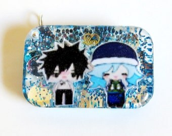 Gray and Juvia Gruvia Love Rectangle Resin Keychain