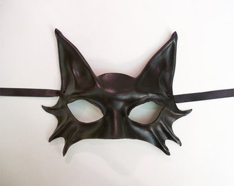 Little Kitty Black Cat Leather Mask costume Halloween masquerade Petite Adult Size