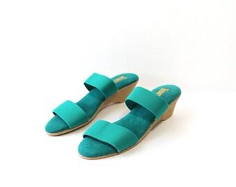 NOS 1970s Kelly Green Wedges Slides Sandals