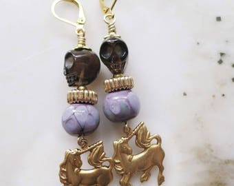 """Sir Unicorn - 3"""" charm earrings - lampwork glass, topaz skulls and mythical charms"""