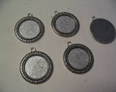 5 pieces 25 mm Antique Silver Cabochon Settings Jewelry Supplies