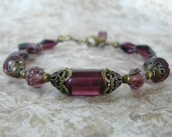 Plum Bracelet, Vintage Inspired Amethyst Glass Bead Bracelet, Dark Purple and Antique Brass, Boho Vintage Jewelry