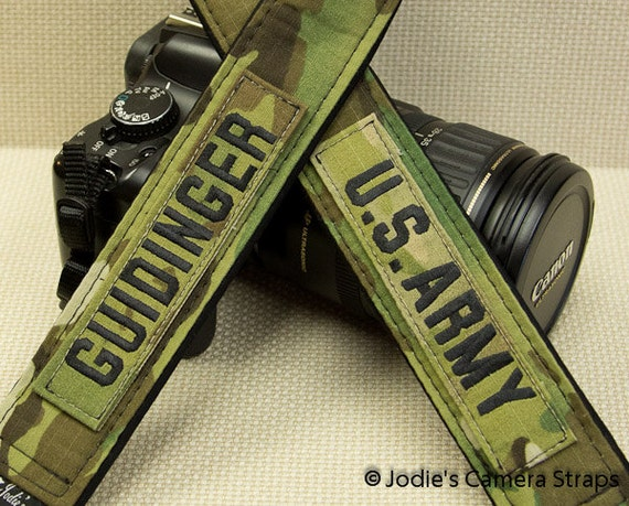 Military Camera Strap 2 in or 1.5 in Wide Custom Padded - Using your Top and Name Tags