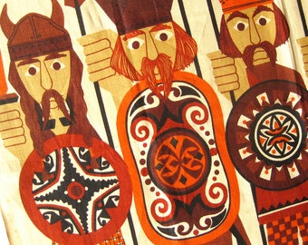 Vintage Viking Theme TEA TOWEL - Ancient Britons by Ulster - Irish Linen