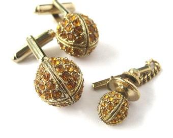 Men's Cufflink and Tie Tack Set / 1960s Gold Rhinestone Cufflinks / Dante Disco Ball Cufflinks / Groom / Gift for Him